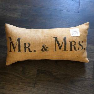 "Burlap ""Mr. & Mrs. Pillow"""